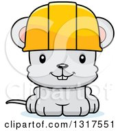 Cartoon Cute Happy Mouse Construction Worker