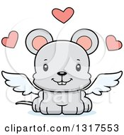 Animal Clipart Of A Cartoon Cute Happy Mouse Cupid Royalty Free Vector Illustration