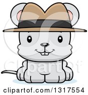 Animal Clipart Of A Cartoon Cute Happy Mouse Detective Royalty Free Vector Illustration