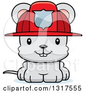 Animal Clipart Of A Cartoon Cute Happy Mouse Firefighter Royalty Free Vector Illustration