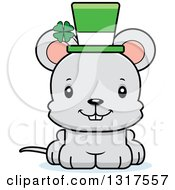 Animal Clipart Of A Cartoon Cute Happy St Patricks Day Irish Mouse Royalty Free Vector Illustration