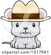Animal Clipart Of A Cartoon Cute Mad Mouse Cowboy Royalty Free Vector Illustration