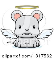 Animal Clipart Of A Cartoon Cute Mad Mouse Angel Royalty Free Vector Illustration