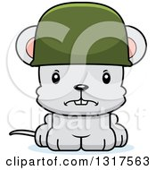 Animal Clipart Of A Cartoon Cute Mad Mouse Army Soldier Royalty Free Vector Illustration