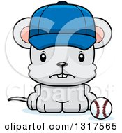 Animal Clipart Of A Cartoon Cute Mad Mouse Sitting By A Baseball Royalty Free Vector Illustration