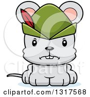 Animal Clipart Of A Cartoon Cute Mad Robin Hood Mouse Royalty Free Vector Illustration