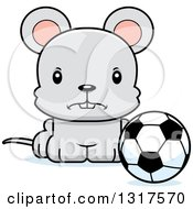 Animal Clipart Of A Cartoon Cute Mad Mouse Sitting By A Soccer Ball Royalty Free Vector Illustration