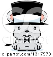 Animal Clipart Of A Cartoon Cute Mad Mouse Gentleman Wearing A Top Hat Royalty Free Vector Illustration