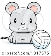 Animal Clipart Of A Cartoon Cute Mad Mouse Sitting By A Volleyball Royalty Free Vector Illustration