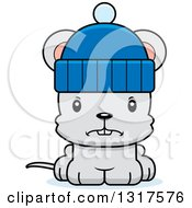 Animal Clipart Of A Cartoon Cute Mad Mouse Wearing A Winter Hat Royalty Free Vector Illustration