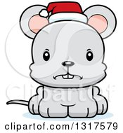Animal Clipart Of A Cartoon Cute Mad Christmas Mouse Wearing A Santa Hat Royalty Free Vector Illustration