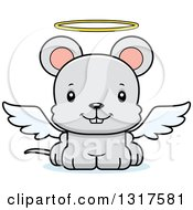 Animal Clipart Of A Cartoon Cute Happy Mouse Angel Royalty Free Vector Illustration
