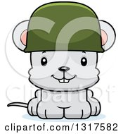Animal Clipart Of A Cartoon Cute Happy Mouse Army Soldier Royalty Free Vector Illustration