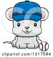 Animal Clipart Of A Cartoon Cute Happy Mouse Sitting By A Royalty Free Vector Illustration
