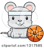 Animal Clipart Of A Cartoon Cute Happy Mouse Sitting By A Basketball Royalty Free Vector Illustration