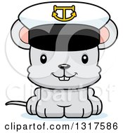 Animal Clipart Of A Cartoon Cute Happy Mouse Captain Royalty Free Vector Illustration