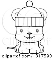 Animal Lineart Clipart Of A Cartoon Black And WhiteCute Happy Mouse Wearing A Winter Hat Royalty Free Outline Vector Illustration