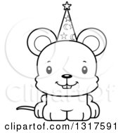 Animal Lineart Clipart Of A Cartoon Black And WhiteCute Happy Mouse Wizard Royalty Free Outline Vector Illustration