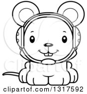 Animal Lineart Clipart Of A Cartoon Black And WhiteCute Happy Mouse Wrestler Royalty Free Outline Vector Illustration