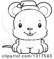 Animal Lineart Clipart Of A Cartoon Black And WhiteCute Happy Christmas Mouse Wearing A Santa Hat Royalty Free Outline Vector Illustration