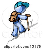 Blue Man Backpacking And Hiking Uphill Clipart Illustration by Leo Blanchette #COLLC13176-0020