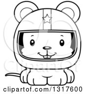 Animal Lineart Clipart Of A Cartoon Black And WhiteCute Happy Mouse Race Car Driver Royalty Free Outline Vector Illustration