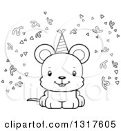 Animal Lineart Clipart Of A Cartoon Black And WhiteCute Happy Party Mouse Royalty Free Outline Vector Illustration