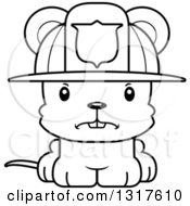 Animal Lineart Clipart Of A Cartoon Black And WhiteCute Mad Mouse Firefighter Royalty Free Outline Vector Illustration