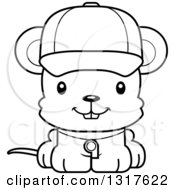 Animal Lineart Clipart Of A Cartoon Black And WhiteCute Happy Mouse Coach Royalty Free Outline Vector Illustration