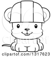 Cartoon Black And White Cute Happy Mouse Construction Worker