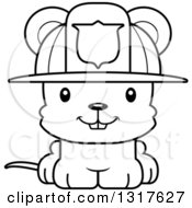 Animal Lineart Clipart Of A Cartoon Black And WhiteCute Happy Mouse Firefighter Royalty Free Outline Vector Illustration