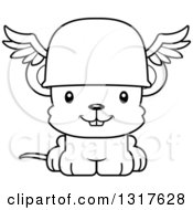 Animal Lineart Clipart Of A Cartoon Black And WhiteCute Happy Mouse Hermes Royalty Free Outline Vector Illustration