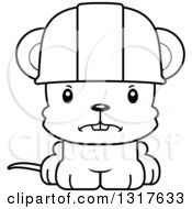 Cartoon Black And White Cute Mad Mouse Construction Worker