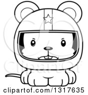 Animal Lineart Clipart Of A Cartoon Black And WhiteCute Mad Mouse Race Car Driver Royalty Free Outline Vector Illustration