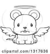 Animal Lineart Clipart Of A Cartoon Black And WhiteCute Mad Mouse Angel Royalty Free Outline Vector Illustration