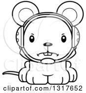 Animal Lineart Clipart Of A Cartoon Black And WhiteCute Mad Mouse Wrestler Royalty Free Outline Vector Illustration