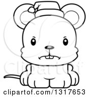 Animal Lineart Clipart Of A Cartoon Black And WhiteCute Mad Christmas Mouse Wearing A Santa Hat Royalty Free Outline Vector Illustration