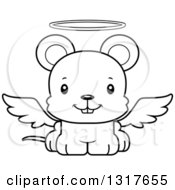 Animal Lineart Clipart Of A Cartoon Black And WhiteCute Happy Mouse Angel Royalty Free Outline Vector Illustration