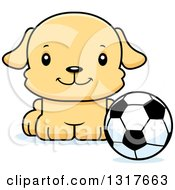 Animal Clipart Of A Cartoon Cute Happy Puppy Dog Sitting By A Soccer Ball Royalty Free Vector Illustration