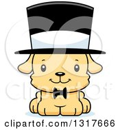Animal Clipart Of A Cartoon Cute Happy Puppy Dog Gentleman Wearing A Top Hat Royalty Free Vector Illustration