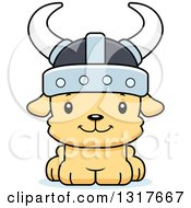 Animal Clipart Of A Cartoon Cute Happy Puppy Dog Viking Royalty Free Vector Illustration