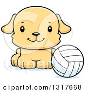 Animal Clipart Of A Cartoon Cute Happy Puppy Dog Sitting By A Volleyball Royalty Free Vector Illustration