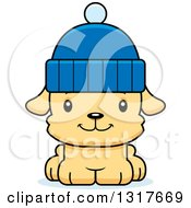 Animal Clipart Of A Cartoon Cute Happy Puppy Dog Wearing A Winter Hat Royalty Free Vector Illustration