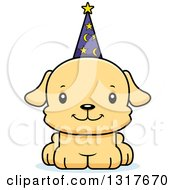 Animal Clipart Of A Cartoon Cute Happy Puppy Dog Wizard Royalty Free Vector Illustration