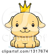 Animal Clipart Of A Cartoon Cute Happy Puppy Dog Prince Royalty Free Vector Illustration
