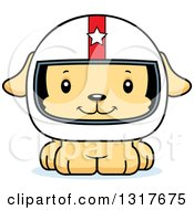 Animal Clipart Of A Cartoon Cute Happy Puppy Dog Race Car Driver Royalty Free Vector Illustration