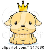 Animal Clipart Of A Cartoon Cute Mad Puppy Dog Prince Royalty Free Vector Illustration