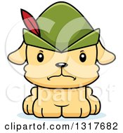 Animal Clipart Of A Cartoon Cute Mad Robin Hood Puppy Dog Royalty Free Vector Illustration