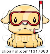 Animal Clipart Of A Cartoon Cute Mad Puppy Dog In Snorkel Gear Royalty Free Vector Illustration