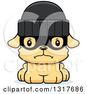 Animal Clipart Of A Cartoon Cute Mad Puppy Dog Robber Royalty Free Vector Illustration